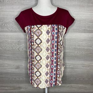 Red & Tan Aztec Printed Top by Rewind Size Small